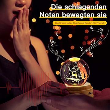 Aoweika Spieluhr, 3D Kristallkugel Spieluhr Mit Warmem Licht Projektionsfunktion, Rotierende K9 Kristallkugel Geschenke für Frauen, Geburtstagsgeschenk, Weihnachtengeschenk (Elch) - 5