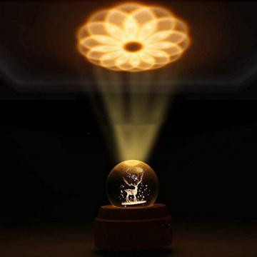 Aoweika Spieluhr, 3D Kristallkugel Spieluhr Mit Warmem Licht Projektionsfunktion, Rotierende K9 Kristallkugel Geschenke für Frauen, Geburtstagsgeschenk, Weihnachtengeschenk (Elch) - 6