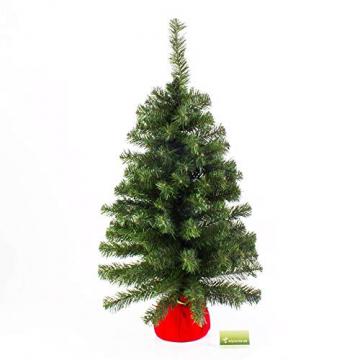 artplants.de Mini Weihnachtsbaum WARSCHAU, grün, rot, 90cm, Ø 50cm - Plastik Tannenbaum - 4
