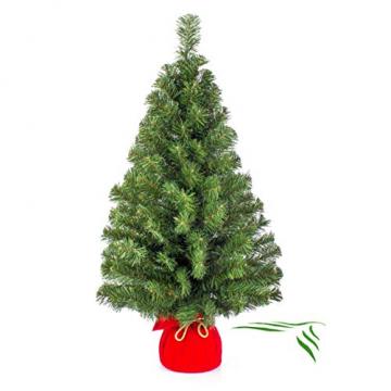 artplants.de Mini Weihnachtsbaum WARSCHAU, grün, rot, 90cm, Ø 50cm - Plastik Tannenbaum - 1