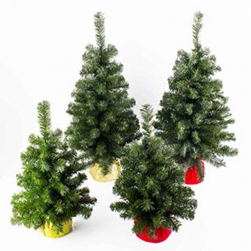 artplants.de Mini Weihnachtsbaum WARSCHAU, grün, rot, 90cm, Ø 50cm - Plastik Tannenbaum - 5