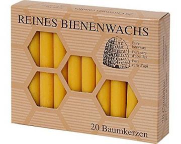 Aspinaworld 60 Stück Bienenwachs Baumkerzen 100/13 mm Christbaumkerzen - 1