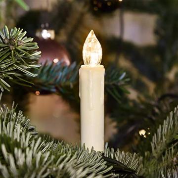 Aufun 30 Stück LED Weihnachtskerze Warmweiß Weinachten, Mini Kabellose Christbaumkerzen Flammenlose mit Fernbedienung und Batterien IP44 für Weihnachtsbaum, Hochzeit, Partys - 3