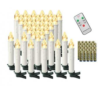 Aufun 30 Stück LED Weihnachtskerze Warmweiß Weinachten, Mini Kabellose Christbaumkerzen Flammenlose mit Fernbedienung und Batterien IP44 für Weihnachtsbaum, Hochzeit, Partys - 1