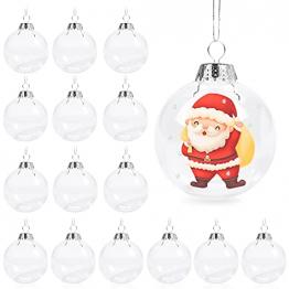 Aurasky Klar Weihnachtskugeln, 16 pcs Weihnachtskugeln Baumschmuck, Befüllbare DIY Christbaumkugeln, Christbaumkugeln aus Klarem, Christbaumkugeln zum Befüllen als Christbaumschmuck - 1
