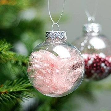 Aurasky Klar Weihnachtskugeln, 16 pcs Weihnachtskugeln Baumschmuck, Befüllbare DIY Christbaumkugeln, Christbaumkugeln aus Klarem, Christbaumkugeln zum Befüllen als Christbaumschmuck - 5