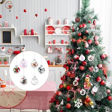 Aurasky Klar Weihnachtskugeln, 16 pcs Weihnachtskugeln Baumschmuck, Befüllbare DIY Christbaumkugeln, Christbaumkugeln aus Klarem, Christbaumkugeln zum Befüllen als Christbaumschmuck - 6