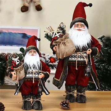 azurely Robe Santa Claus Figur, 30 / 45cm Stehende Santa Claus Figur Puppe Weihnachten Desktop Ornament Kinder Geschenk Spielzeug für Home Mall Office - 3