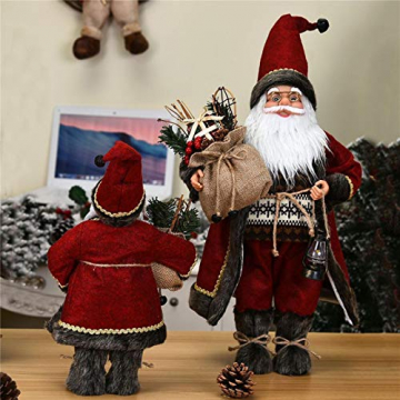 azurely Robe Santa Claus Figur, 30 / 45cm Stehende Santa Claus Figur Puppe Weihnachten Desktop Ornament Kinder Geschenk Spielzeug für Home Mall Office - 4