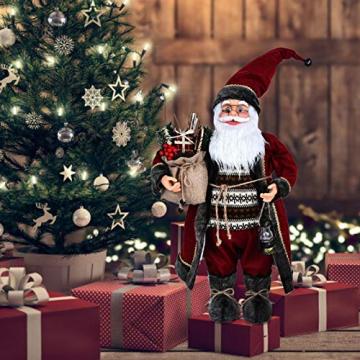 azurely Robe Santa Claus Figur, 30 / 45cm Stehende Santa Claus Figur Puppe Weihnachten Desktop Ornament Kinder Geschenk Spielzeug für Home Mall Office - 5