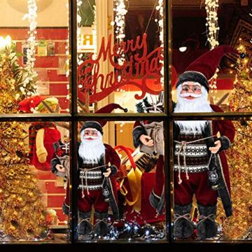 azurely Robe Santa Claus Figur, 30 / 45cm Stehende Santa Claus Figur Puppe Weihnachten Desktop Ornament Kinder Geschenk Spielzeug für Home Mall Office - 6