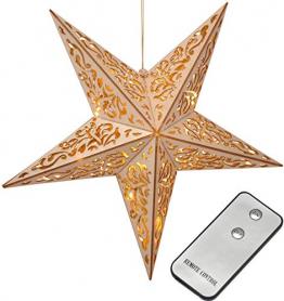Bambelaa! LED Stern Holz Fernbedienung 40cm beleuchteter Stern Weihnachten Fenster Deko Holzstern batteriebetrieben - 1