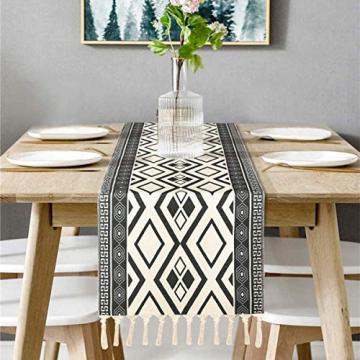 Bateruni Geometrisch Tischläufer, Grau Modern Schwarz Weiß Tischwäsche Matte, Faltenfrei rutschfest Tischband Dekoration für Esszimmer Party Urlaub 35x180cm - 1