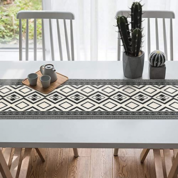 Bateruni Geometrisch Tischläufer, Grau Modern Schwarz Weiß Tischwäsche Matte, Faltenfrei rutschfest Tischband Dekoration für Esszimmer Party Urlaub 35x180cm - 7