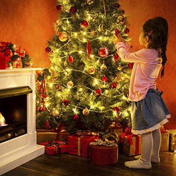 Baummantel Christbaumbeleuchtung mit 10 * 28 LED, Lichterkette Baumbeleuchtung mit Ring, IP44 Spritzwassergeschützt, Außen und Innen Lichterkette für 180CM-250CM Weihnachtsbaum (warm weiße) - 2
