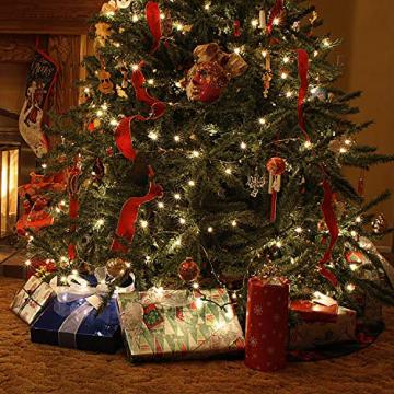 Baummantel Christbaumbeleuchtung mit 10 * 28 LED, Lichterkette Baumbeleuchtung mit Ring, IP44 Spritzwassergeschützt, Außen und Innen Lichterkette für 180CM-250CM Weihnachtsbaum (warm weiße) - 4