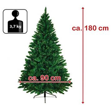 BB Sport Christbaum Weihnachtsbaum 180 cm Mittelgrün PVC Tannenbaum Künstlich Standfuß Klappsystem - 7