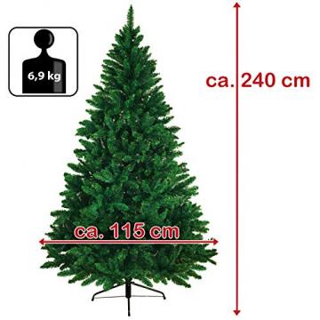 BB Sport Christbaum Weihnachtsbaum 240 cm Mittelgrün PVC Tannenbaum Künstlich Standfuß Klappsystem - 7