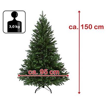 BB Sport Luxus Christbaum 150 cm Dunkelgrün künstlicher Weihnachtsbaum PE/PVC Spritzguss Mix Tannenbaum Standfuß - 7