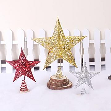 Benoon Weihnachtsbaumspitze Ornamente Dekor 3D Effektive Solide Schmiedeeisen Weihnachtsbaum Rattan Stern Topper für Party für Zuhause für Küche Golden 15cm - 2