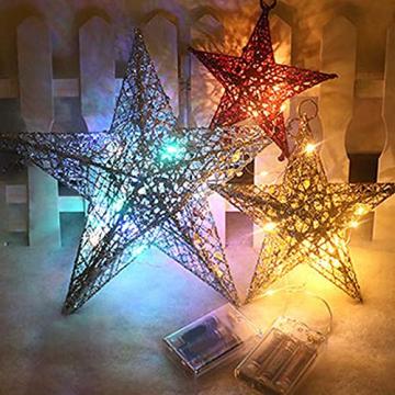Benoon Weihnachtsbaumspitze Ornamente Dekor 3D Effektive Solide Schmiedeeisen Weihnachtsbaum Rattan Stern Topper für Party für Zuhause für Küche Golden 15cm - 3