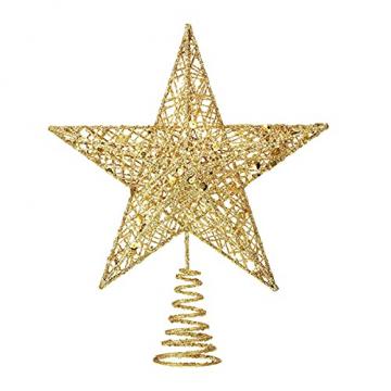 Benoon Weihnachtsbaumspitze Ornamente Dekor 3D Effektive Solide Schmiedeeisen Weihnachtsbaum Rattan Stern Topper für Party für Zuhause für Küche Golden 15cm - 1