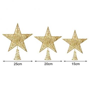 Benoon Weihnachtsbaumspitze Ornamente Dekor 3D Effektive Solide Schmiedeeisen Weihnachtsbaum Rattan Stern Topper für Party für Zuhause für Küche Golden 15cm - 5