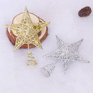 Benoon Weihnachtsbaumspitze Ornamente Dekor 3D Effektive Solide Schmiedeeisen Weihnachtsbaum Rattan Stern Topper für Party für Zuhause für Küche Golden 15cm - 6