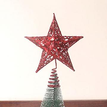 Benoon Weihnachtsbaumspitze Ornamente Dekor 3D Effektive Solide Schmiedeeisen Weihnachtsbaum Rattan Stern Topper für Party für Zuhause für Küche Golden 15cm - 7