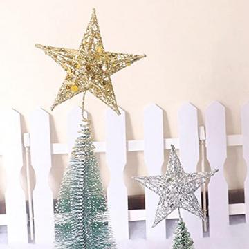 Benoon Weihnachtsbaumspitze Ornamente Dekor 3D Effektive Solide Schmiedeeisen Weihnachtsbaum Rattan Stern Topper für Party für Zuhause für Küche Golden 15cm - 8