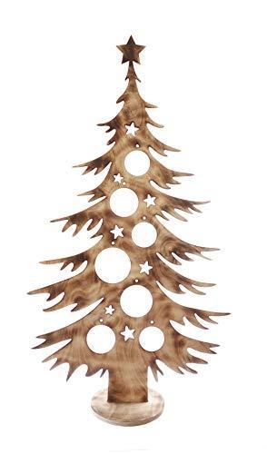 Bergliebe Dekobaum Weihnachtsdekoration Weihnachtsbaum Christbaumkugeln rustikal Vintage geflammtes Holz 103.5x58 cm Pohmer Design - 1