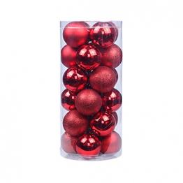 BESPORTBLE 24er Pack Weihnachtskugeln Ornamente Dekoration für Baumhaus Indoor Outdoor Hängekugeln 6cm Rot - 1