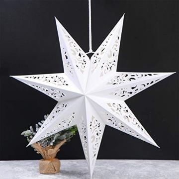 BESPORTBLE 45CM Papierstern Lampe Papier Weihnachtssterne mit Beleuchtung 3D Leuchtstern Fensterdeko Stern Weihnachten Beleuchtet Christbaumspitze für Weihnachtsbaum Deko - 5