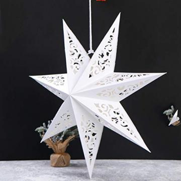 BESPORTBLE 45CM Papierstern Lampe Papier Weihnachtssterne mit Beleuchtung 3D Leuchtstern Fensterdeko Stern Weihnachten Beleuchtet Christbaumspitze für Weihnachtsbaum Deko - 6