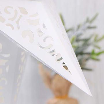 BESPORTBLE 45CM Papierstern Lampe Papier Weihnachtssterne mit Beleuchtung 3D Leuchtstern Fensterdeko Stern Weihnachten Beleuchtet Christbaumspitze für Weihnachtsbaum Deko - 7