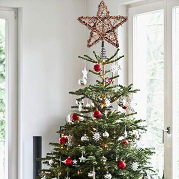 BESPORTBLE Christbaumspitze LED Rattan Stern mit Lichterkette Fernbedienung Halter OHNE Akku Weihnachtsbaumspitze Baumschmuck Weihnachten Festival Tannenbaum Dekoration Weihnachtsdekoration - 6