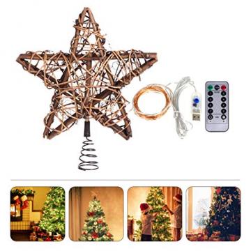 BESPORTBLE Christbaumspitze LED Rattan Stern mit Lichterkette Fernbedienung Halter OHNE Akku Weihnachtsbaumspitze Baumschmuck Weihnachten Festival Tannenbaum Dekoration Weihnachtsdekoration - 7