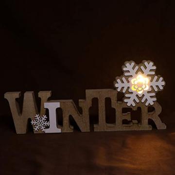 BESPORTBLE Schriftzug Weihnachten Holz Winter Beleuchtet Schneeflocke Tischdeko Nachtlicht Schreibtischlampe Schlafzimmer Nachtlampe Weihnachtsdekoration Party Festival Geschenk - 2