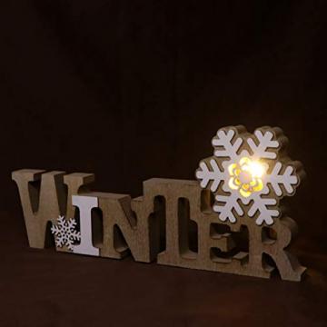 BESPORTBLE Schriftzug Weihnachten Holz Winter Beleuchtet Schneeflocke Tischdeko Nachtlicht Schreibtischlampe Schlafzimmer Nachtlampe Weihnachtsdekoration Party Festival Geschenk - 3