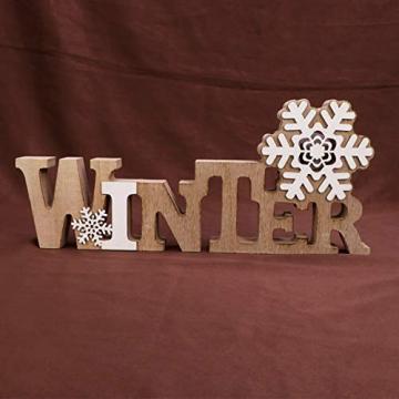 BESPORTBLE Schriftzug Weihnachten Holz Winter Beleuchtet Schneeflocke Tischdeko Nachtlicht Schreibtischlampe Schlafzimmer Nachtlampe Weihnachtsdekoration Party Festival Geschenk - 4