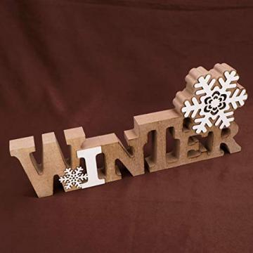 BESPORTBLE Schriftzug Weihnachten Holz Winter Beleuchtet Schneeflocke Tischdeko Nachtlicht Schreibtischlampe Schlafzimmer Nachtlampe Weihnachtsdekoration Party Festival Geschenk - 5