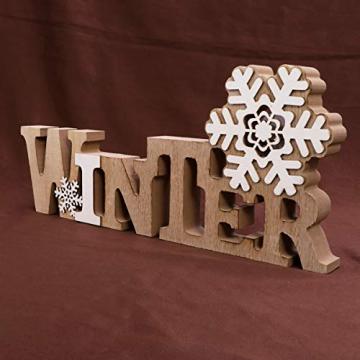 BESPORTBLE Schriftzug Weihnachten Holz Winter Beleuchtet Schneeflocke Tischdeko Nachtlicht Schreibtischlampe Schlafzimmer Nachtlampe Weihnachtsdekoration Party Festival Geschenk - 6