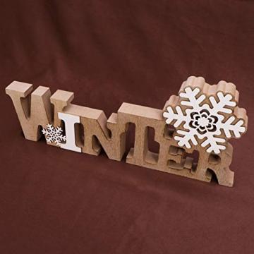 BESPORTBLE Schriftzug Weihnachten Holz Winter Beleuchtet Schneeflocke Tischdeko Nachtlicht Schreibtischlampe Schlafzimmer Nachtlampe Weihnachtsdekoration Party Festival Geschenk - 8