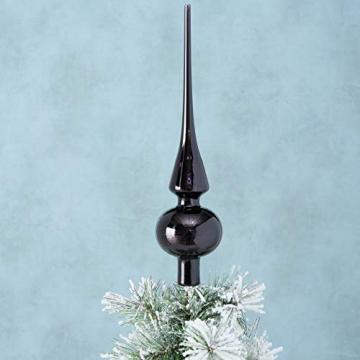 Boltze Baumspitze Weihnachtsbaum - Christbaumspitze aus Glas, Christbaumschmuck - Weihnachtsdeko, Weihnachten, Advent, Winter - 25 cm - Schwarz - 2