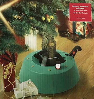 Brandsseller Christbaumständer Weihnachtsbaumständer Tannenbaumständer mit Fußhebeltechnik, EIN-Seil-Technik und Sicherung - 34x34cm/4,2kg für Bäume bis zu 2,5m - Farbe: Grün - 2