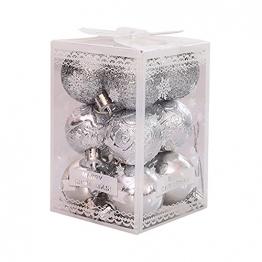 """BRISEZZ 12 Stück 9-Farben 1,57"""" Weihnachtsbaum Dekoration Kugel Weihnachten Anhänger Requisiten für Urlaub Hochzeit Dekoration Ornamente, Haken Enthalten, Boxed (Silber) - 1"""