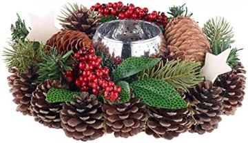 Britesta Weihnachtsgesteck: Handgefertigtes Weihnachts- & Adventsgesteck mit Teelicht-Halter, 23cm (weihnachtdeko) - 1