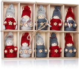 Brubaker 10-teiliges Set Weihnachtswichtel aus Holz und Strick - Baumanhänger Weihnachtsanhänger - 8 cm in Geschenkbox - 1