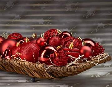 Brubaker 101-teiliges Set Weihnachtskugeln mit Baumspitze Rot Christbaumschmuck - 4