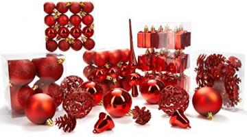 Brubaker 101-teiliges Set Weihnachtskugeln mit Baumspitze Rot Christbaumschmuck - 5